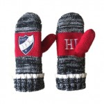 Eembroidery logo Knitted with polar fleece lining two-tone yarn knitted mittens