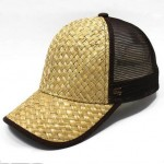 Trucker cap with straw material on front panels and visor