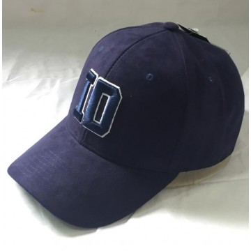 Navy Suede Curved Peak Hat