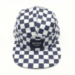 Blue and White Checked Camper Hat
